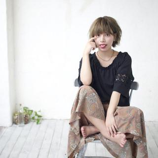 フェミニン ラフ ショート キュート ヘアスタイルや髪型の写真・画像