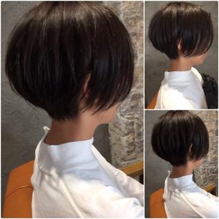 ナチュラル マッシュ 黒髪 ショート ヘアスタイルや髪型の写真・画像