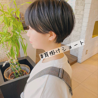 ショートボブ ショートヘア ショート 切りっぱなしボブ ヘアスタイルや髪型の写真・画像