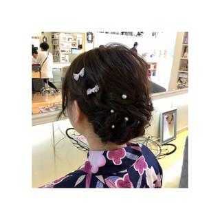 ゆるふわ 和装 ミディアム 夏 ヘアスタイルや髪型の写真・画像 ヘアスタイルや髪型の写真・画像