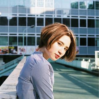 ナチュラル ショート 色気 大人かわいい ヘアスタイルや髪型の写真・画像