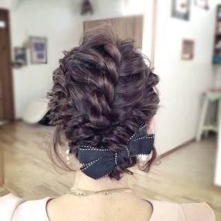 編み込み パーティ ヘアアレンジ アップスタイル ヘアスタイルや髪型の写真・画像 ヘアスタイルや髪型の写真・画像