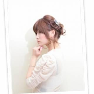 大人かわいい 編み込み アップスタイル 簡単 ヘアスタイルや髪型の写真・画像