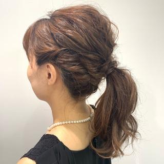 ポニーテールアレンジ ヘアアレンジ ボブアレンジ ミディアム ヘアスタイルや髪型の写真・画像