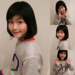 ショートバング ガーリー 前髪あり 子供 ヘアスタイルや髪型の写真・画像