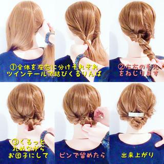 セルフアレンジ 簡単ヘアアレンジ くるりんぱ アップスタイル ヘアスタイルや髪型の写真・画像
