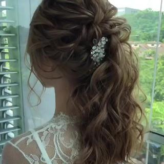結婚式 ヘアアレンジ パーティ ガーリー ヘアスタイルや髪型の写真・画像