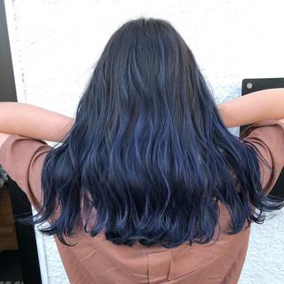 ブルー バレイヤージュ ブリーチ 外国人風カラー ヘアスタイルや髪型の写真・画像