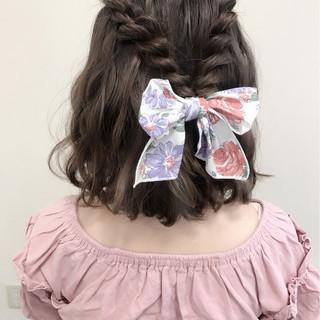結婚式 ガーリー ハーフアップ デート ヘアスタイルや髪型の写真・画像