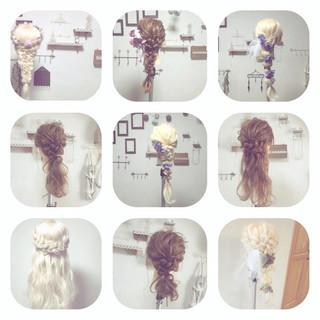 フェミニン 夏 ヘアアレンジ ゆるふわ ヘアスタイルや髪型の写真・画像