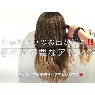 女子会 ロング オフィス 簡単ヘアアレンジ ヘアスタイルや髪型の写真・画像