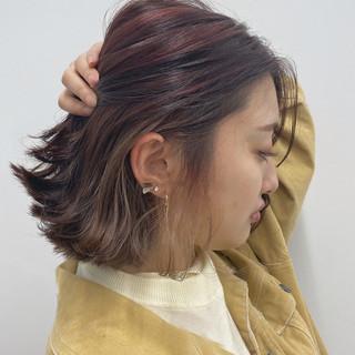 春 インナーカラー フェミニン ボブ ヘアスタイルや髪型の写真・画像