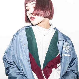 ピンク ストリート ボブ ガーリー ヘアスタイルや髪型の写真・画像