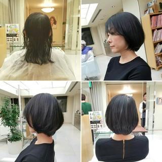 ナチュラル 黒髪 ショート 大人女子 ヘアスタイルや髪型の写真・画像