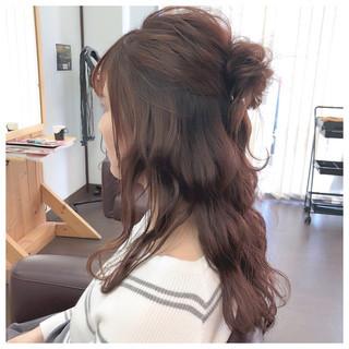 セミロング 簡単ヘアアレンジ フェミニン ヘアアレンジ ヘアスタイルや髪型の写真・画像