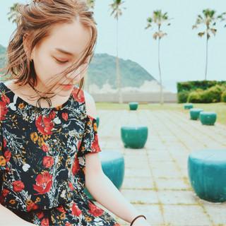 ミディアム 夏 外国人風 涼しげ ヘアスタイルや髪型の写真・画像