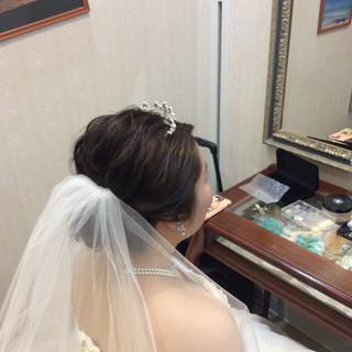ヘアアレンジ ミディアム 結婚式 エレガント ヘアスタイルや髪型の写真・画像