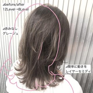 髪質改善 ミルクティーグレージュ ミディアム グレージュ ヘアスタイルや髪型の写真・画像