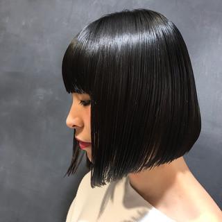 ナチュラル 黒髪 ぱっつん ボブ ヘアスタイルや髪型の写真・画像