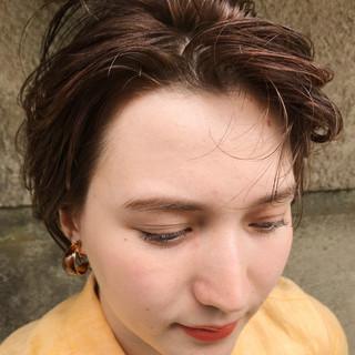 ショートボブ オレンジ 抜け感 ショートヘア ヘアスタイルや髪型の写真・画像