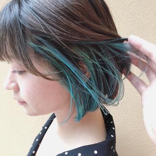 インナーカラー ストリート ダブルカラー ボブ ヘアスタイルや髪型の写真・画像