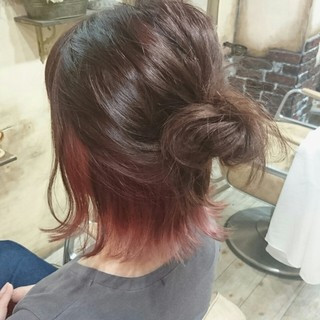 ボブ ハーフアップ ピンク 外ハネ ヘアスタイルや髪型の写真・画像