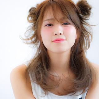 ヘアアレンジ ミディアム ショート ガーリー ヘアスタイルや髪型の写真・画像