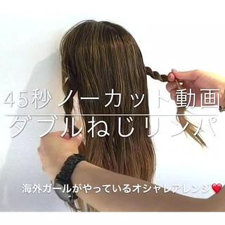 女子会 フェミニン セミロング 簡単ヘアアレンジ ヘアスタイルや髪型の写真・画像
