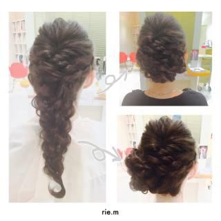 まとめ髪 ロング 編み込み 結婚式 ヘアスタイルや髪型の写真・画像