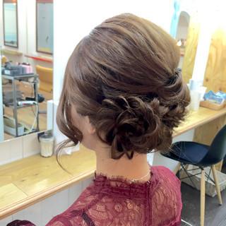 セミロング ラフ 編み込み アップスタイル ヘアスタイルや髪型の写真・画像