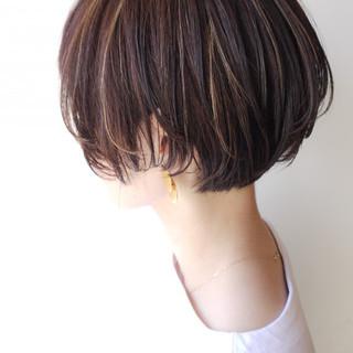 愛され ハイライト ショートボブ 大人かわいい ヘアスタイルや髪型の写真・画像