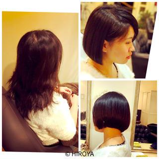 簡単 黒髪 ショートボブ ナチュラル ヘアスタイルや髪型の写真・画像 ヘアスタイルや髪型の写真・画像