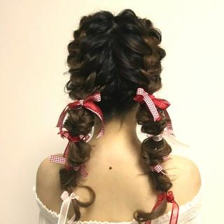 ロング ヘアアレンジ ナチュラル 編み込み ヘアスタイルや髪型の写真・画像
