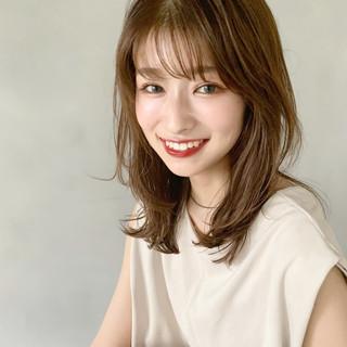 デジタルパーマ ミディアム 大人ミディアム ひし形シルエット ヘアスタイルや髪型の写真・画像