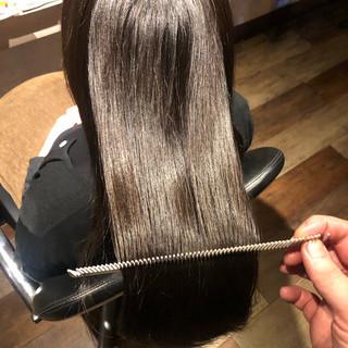 ロング 縮毛矯正 髪質改善カラー ナチュラル ヘアスタイルや髪型の写真・画像