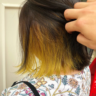 ガーリー ボブ インナーカラー ヘアスタイルや髪型の写真・画像