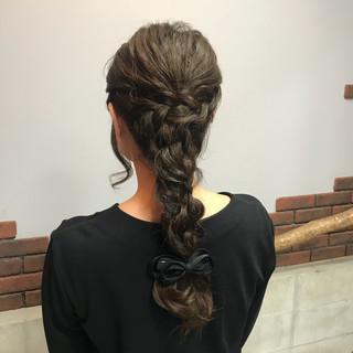 結婚式 編み込み デート ロング ヘアスタイルや髪型の写真・画像