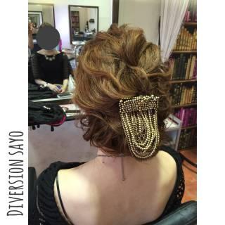 まとめ髪 波ウェーブ ナチュラル ヘアアレンジ ヘアスタイルや髪型の写真・画像