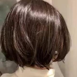 ハイライト 大人かわいい フェミニン 切りっぱなしボブ ヘアスタイルや髪型の写真・画像
