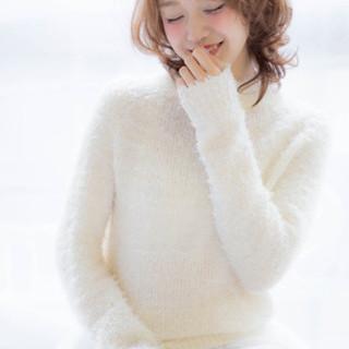 ミディアム 冬 大人かわいい フェミニン ヘアスタイルや髪型の写真・画像