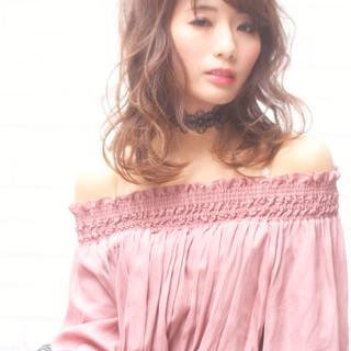 ニュアンス デート ミルクティー ミディアム ヘアスタイルや髪型の写真・画像