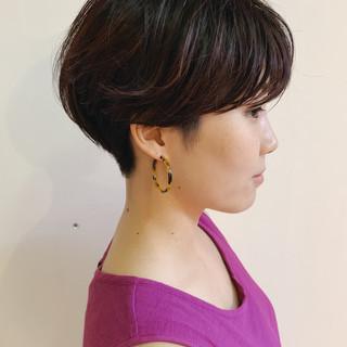 黒髪 ハンサムショート マッシュショート ナチュラル ヘアスタイルや髪型の写真・画像