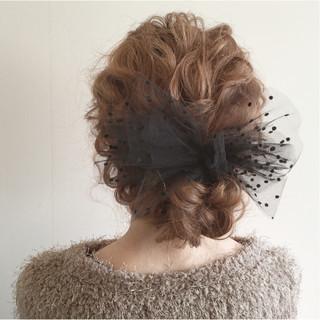 セミロング ヘアアレンジ ガーリー ナチュラル ヘアスタイルや髪型の写真・画像