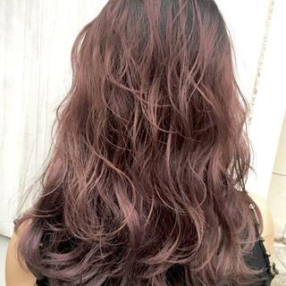 女子力 グラデーションカラー ピンクアッシュ レッド ヘアスタイルや髪型の写真・画像