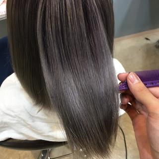 グラデーションカラー 透明感 セミロング 外国人風カラー ヘアスタイルや髪型の写真・画像