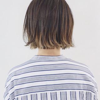 ボブ ハイライト グラデーションカラー バレイヤージュ ヘアスタイルや髪型の写真・画像 ヘアスタイルや髪型の写真・画像