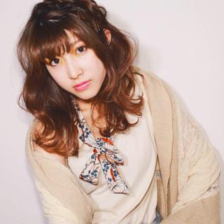 外国人風 ゆるふわ セミロング ヘアアレンジ ヘアスタイルや髪型の写真・画像