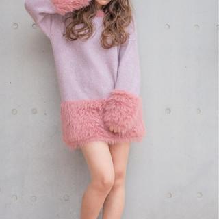 アッシュ 大人女子 ロング ガーリー ヘアスタイルや髪型の写真・画像