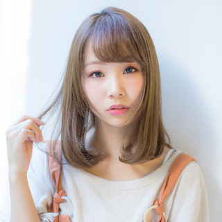 ワンカール デジタルパーマ ミディアム 小顔ヘア ヘアスタイルや髪型の写真・画像