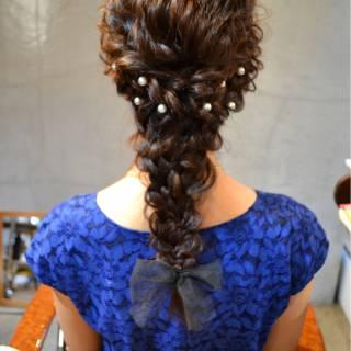 大人かわいい 三つ編み 結婚式 ゆるふわ ヘアスタイルや髪型の写真・画像